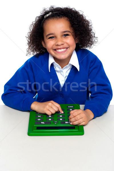 Сток-фото: африканских · Kid · калькулятор · большой · зеленый