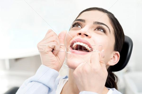 Helpen me zorg mijn tanden vrouw Stockfoto © stockyimages