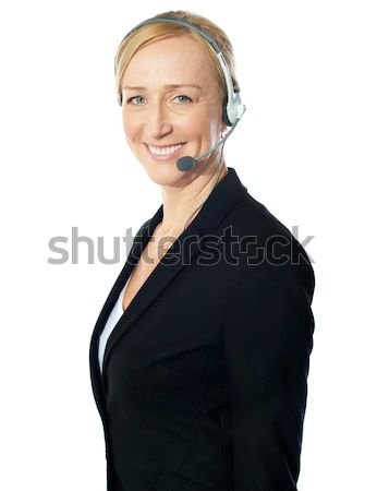 Foto stock: Femenino · call · center · posando · negocios · mujer