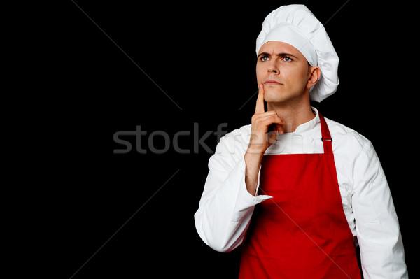 熟練した シェフ 思考 小さな 男性 ストックフォト © stockyimages