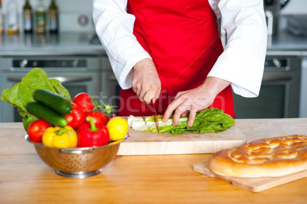 Stock fotó: Szakács · kéz · tapsolás · zöldségek · fa · deszka · férfi