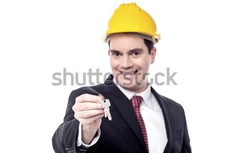 Stockfoto: Sleutels · nieuw · huis · gelukkig · mannelijke · bouwer