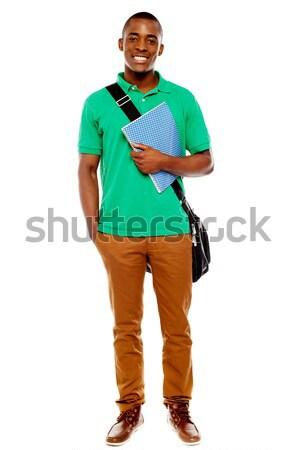 Stock foto: Studenten · tragen · Laptop · Tasche · Notebook · lächelnd