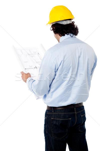 Burgerlijk ingenieur bouw plan achteraanzicht mannelijke Stockfoto © stockyimages