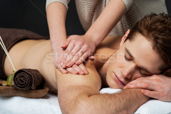 Stock photo: Man receiving relax treatment at spa