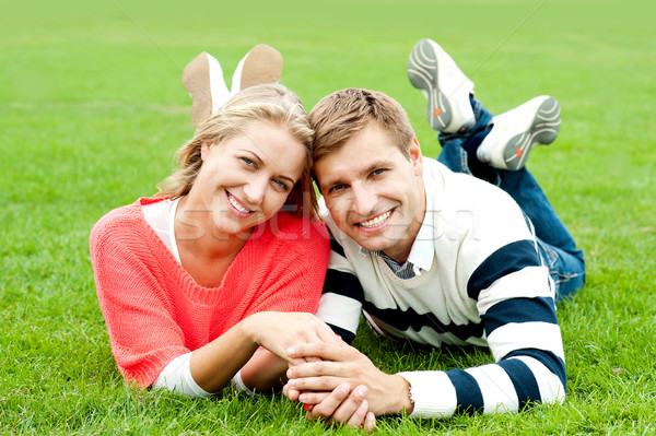 Couple outdoors enjoying the fresh air Stock photo © stockyimages