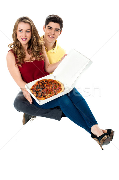 Let's share the yummy pizza Stock photo © stockyimages