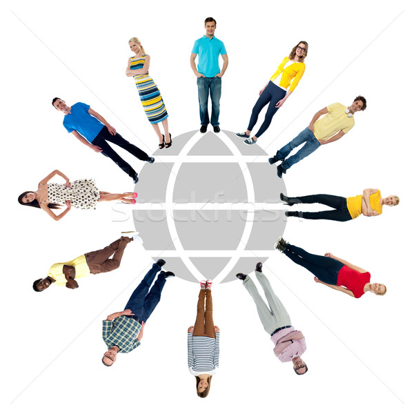 Grup insanlar ayakta daire insanlar etrafında Stok fotoğraf © stockyimages