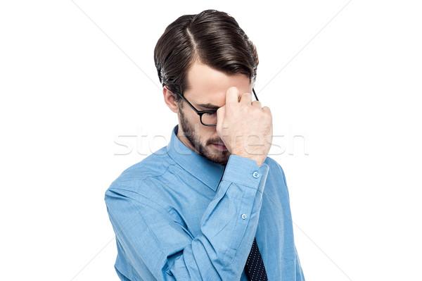 Mi lehangolt férfi tart kéz üzlet Stock fotó © stockyimages