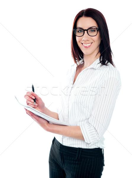 Sorridere donna d'affari iscritto virale isolato bianco Foto d'archivio © stockyimages