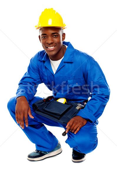 Foto stock: Africano · trabalhador · posando · sorrir · isolado