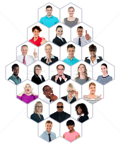 Headshot collection of multiracial group of people Stock photo © stockyimages
