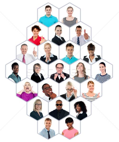 Gyűjtemény csoportkép boldog mosolyog kollázs mutat Stock fotó © stockyimages