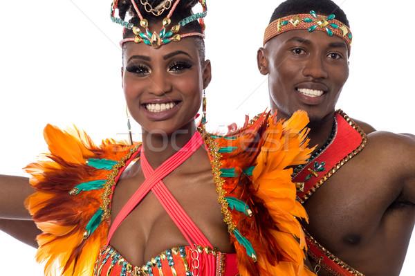 Közelkép pár szamba táncos mosolyog tánc Stock fotó © stockyimages