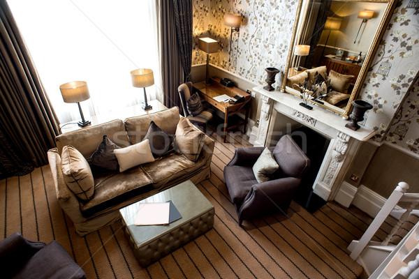 Haut vue salon intérieur luxe modernes Photo stock © stockyimages