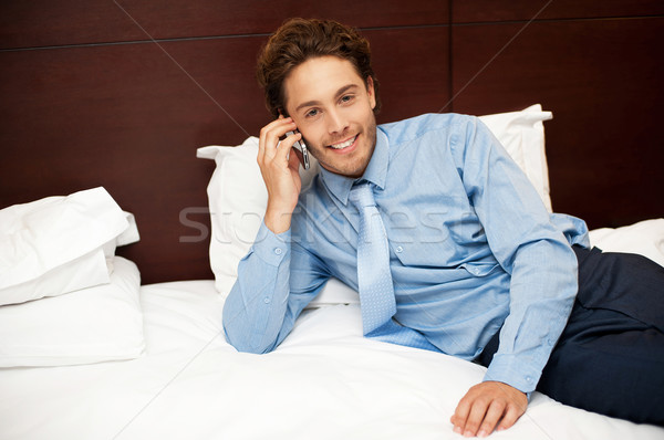 Calm and relaxed businessman resting after work Stock photo © stockyimages