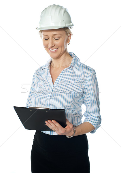 Experienced builder wearing helmet Stock photo © stockyimages