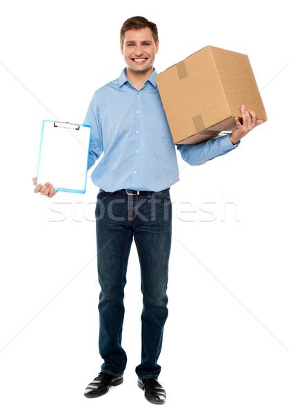 Accept carton please. Courier service Stock photo © stockyimages