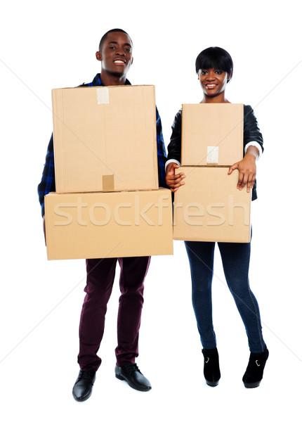 Attrattivo african Coppia cartone scatole Foto d'archivio © stockyimages