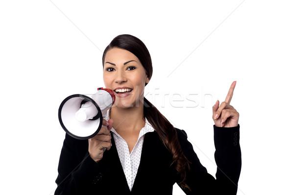женщину говорить как телефон корпоративного Сток-фото © stockyimages
