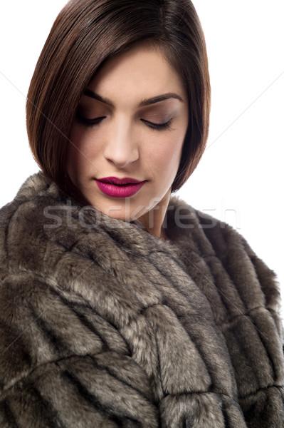 Benim yeni stil kürk şık genç kadın Stok fotoğraf © stockyimages