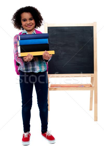Stockfoto: Mijn · eerste · dag · school · glimlachend · meisje