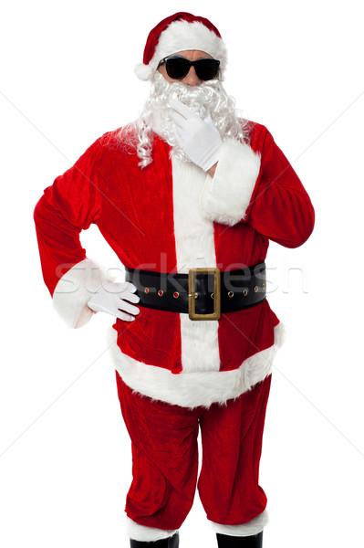Stockfoto: Stijlvol · kerstman · portret · witte · glimlachend · geïsoleerd