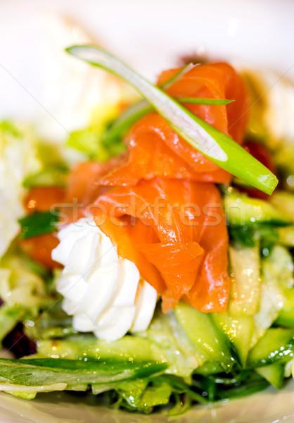 Stock fotó: Füstölz · lazac · krém · saláta · zöldségek · felszolgált · étel