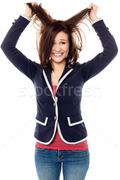 Genç kız saç heyecan genç Stok fotoğraf © stockyimages