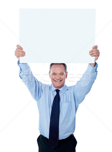 Сток-фото: бизнесмен · Billboard · голову · изолированный · белый