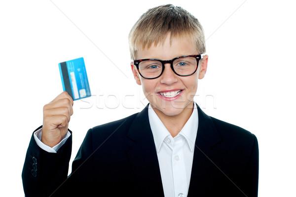 молодые Kid бизнеса костюм дебетовая карточка деньги Сток-фото © stockyimages