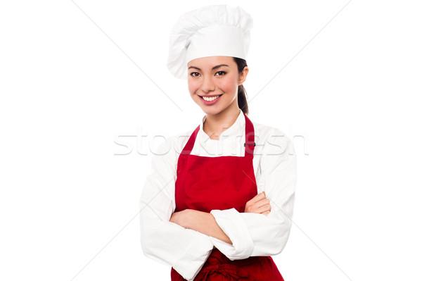 Stock fotó: Derűs · fiatal · női · szakács · csinos · pék