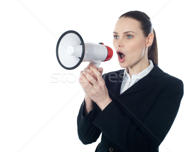 Business woman giving instructions with megaphone Stock photo © stockyimages