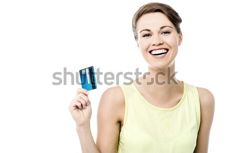 Lány mutat pénz kártya kar nyújtott Stock fotó © stockyimages