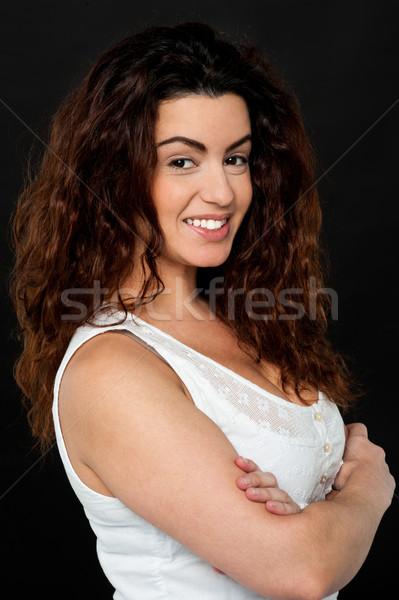 Prachtig mode model permanent lang haar vrouwelijke Stockfoto © stockyimages