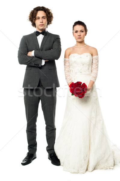 Stock photo: Romantic newlywed couple posing