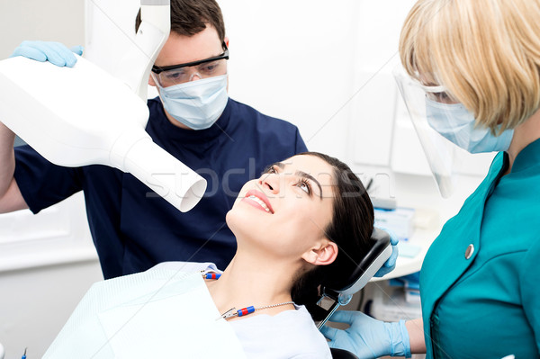 Female patient have x-ray examination Stock photo © stockyimages