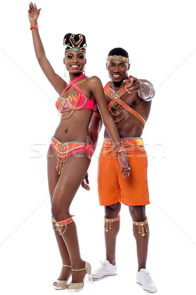 Jött tánc teljes alakos szamba táncos mutat Stock fotó © stockyimages