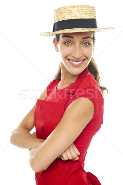 Charming confident baker woman posing casually Stock photo © stockyimages