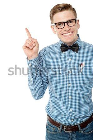 Zdjęcia stock: Chłopca · modny · yo · gest · podniecony · biały