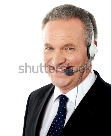 Closeup of senior customer service operator Stock photo © stockyimages