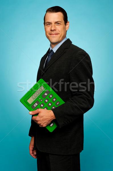 Stock foto: Seitenansicht · Porträt · Geschäftsmann · Rechner · grünen · isoliert