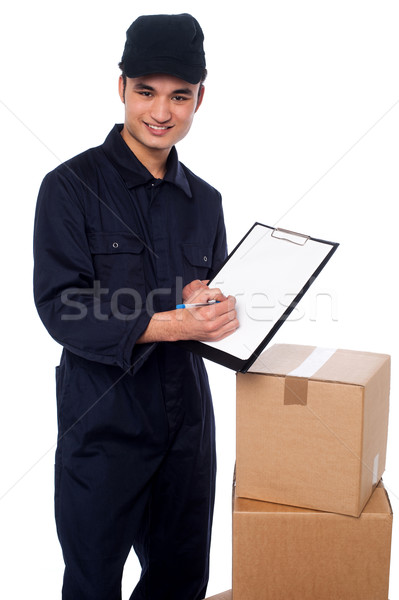 Please sign here, confirmation of goods received Stock photo © stockyimages