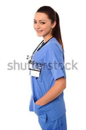 красивой Lady врач стетоскоп вокруг шее Сток-фото © stockyimages