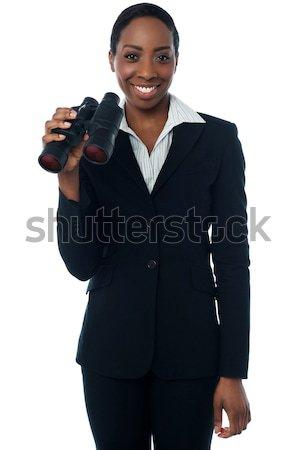 Stock fotó: üzletasszony · tart · látcső · vállalati · nő · üzlet