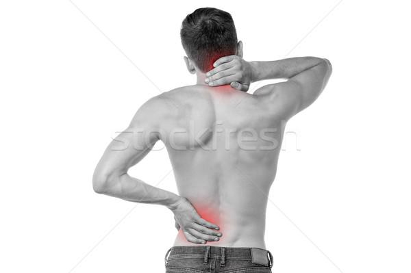 Urazy sportowe ból powrót młody człowiek szyi ból w krzyżu Zdjęcia stock © stockyimages