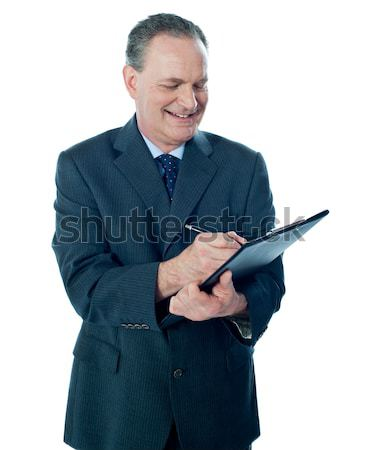 Holunder Mann Business stellt fest isoliert Stock foto © stockyimages