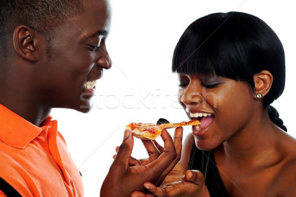 Foto stock: Belo · africano · casal · alimentação · pizza · isolado