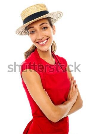Fırıncı kadın saman Stok fotoğraf © stockyimages