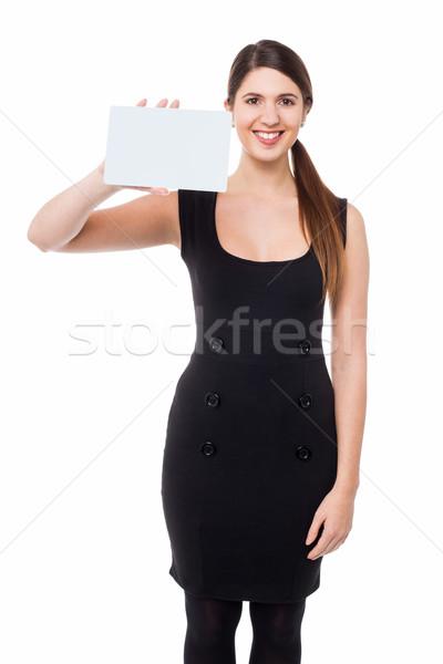 Kobieta prostokątny billboard wesoły Zdjęcia stock © stockyimages